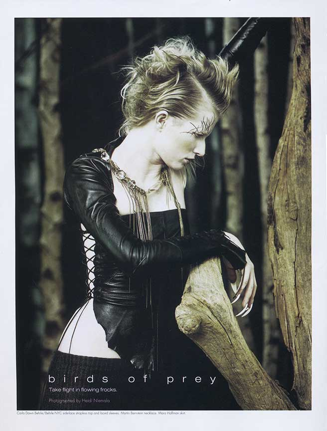 Our Morgana Leather top and Sleeves in Zink Magazine