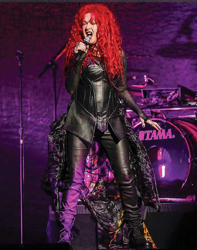 """Cyndi Lauper in our Custom Made Corset, Pants and Bustle Skirt for the """"Dressed to Kill"""" tour"""