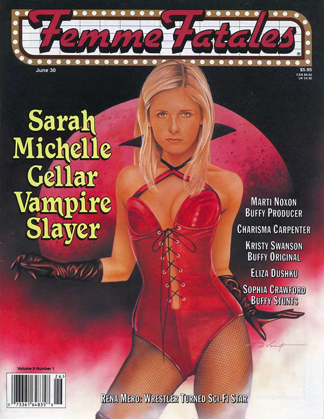 Femme Fatal Illustration Cover of Sarah Michelle Gellar in our Vampirilla Corseted Leather Bodysuit