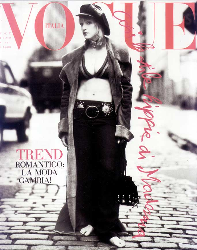 Madonna on cover of Italian Vogue in Carla Dawn Behrle Leather