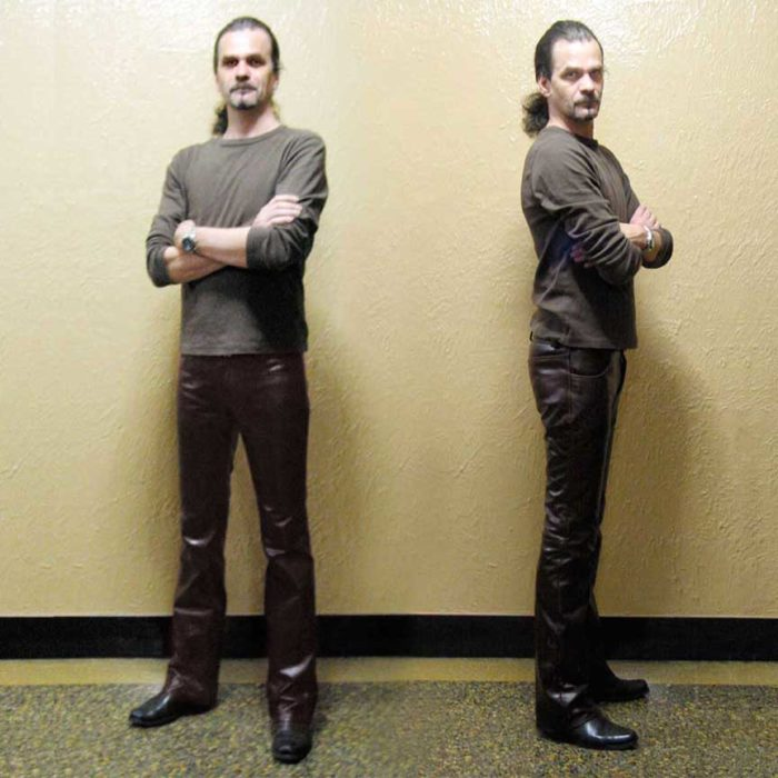 Men's custom made leather jeans in cognac buffalo by Carla Dawn Behrle