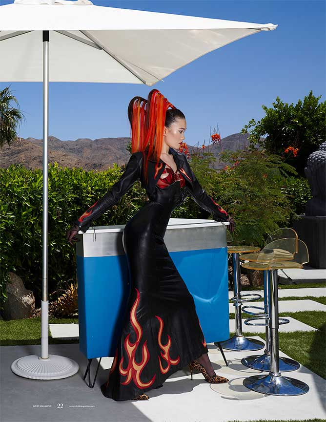 Leather flame gown by Carla Dawn Behrle in Livid Magazine