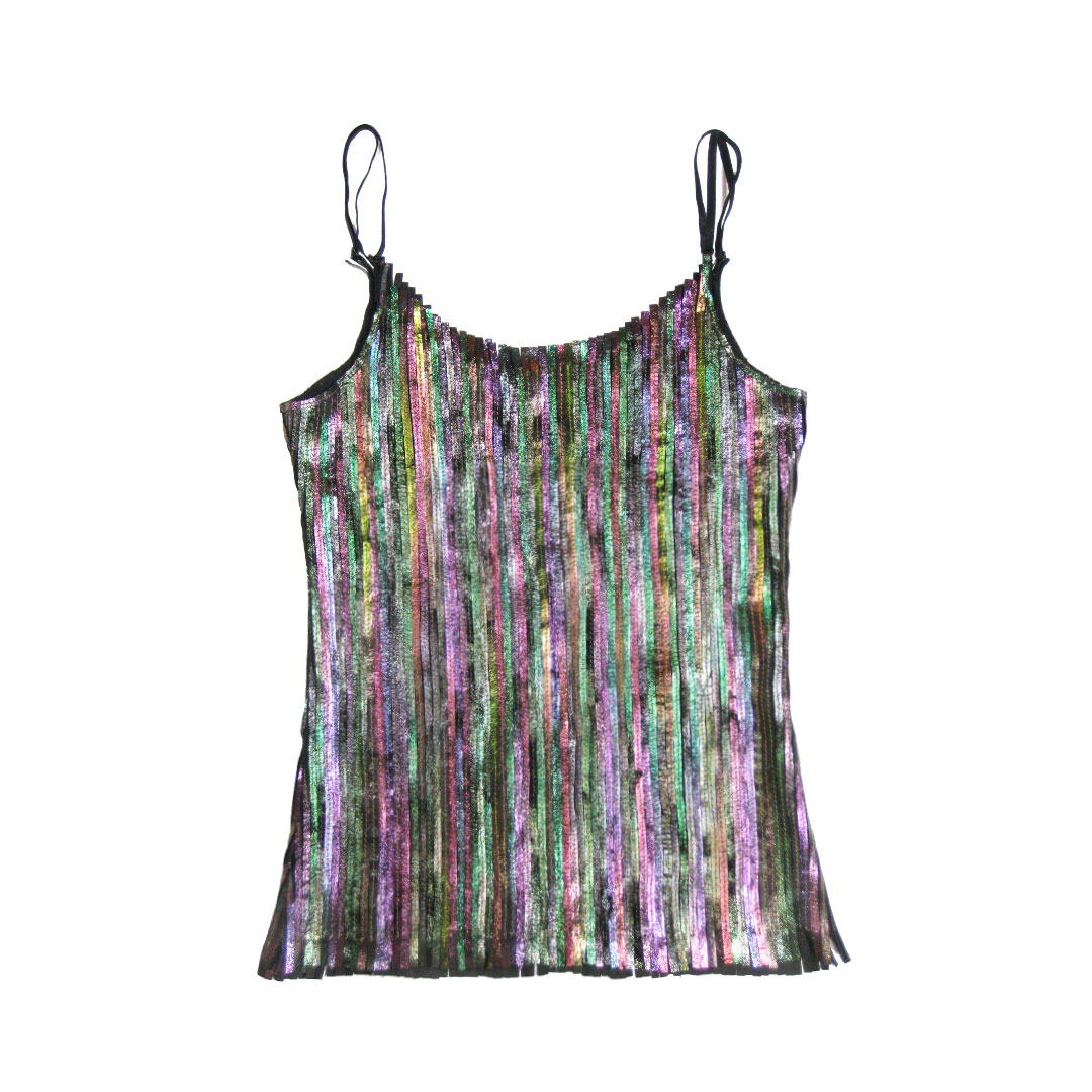 Fay leather slip top in Iridescent