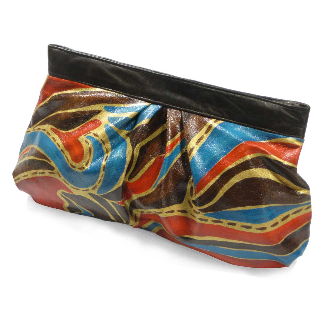 hand painted leather bag in a soft clutch style