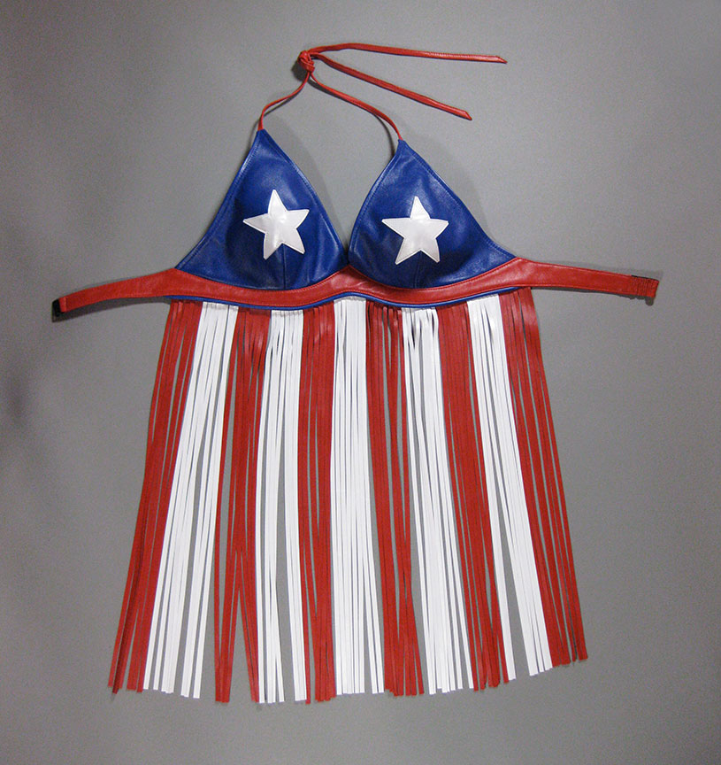 patriotic leather bikini with fringe