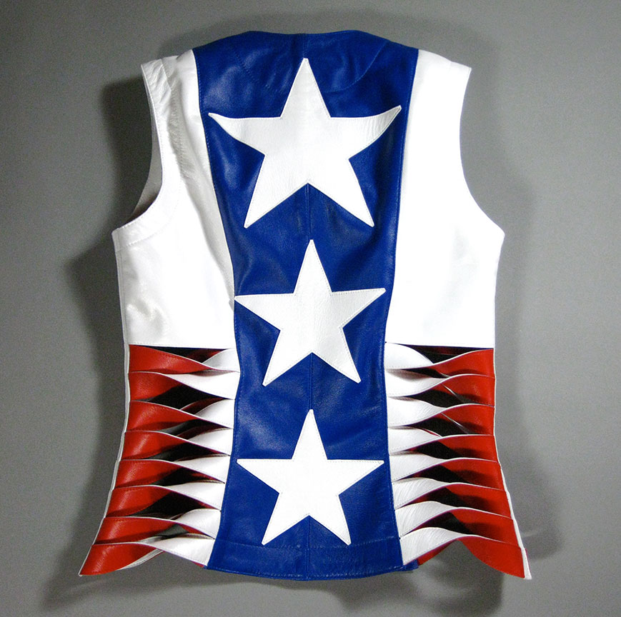 Patriotic leather vest