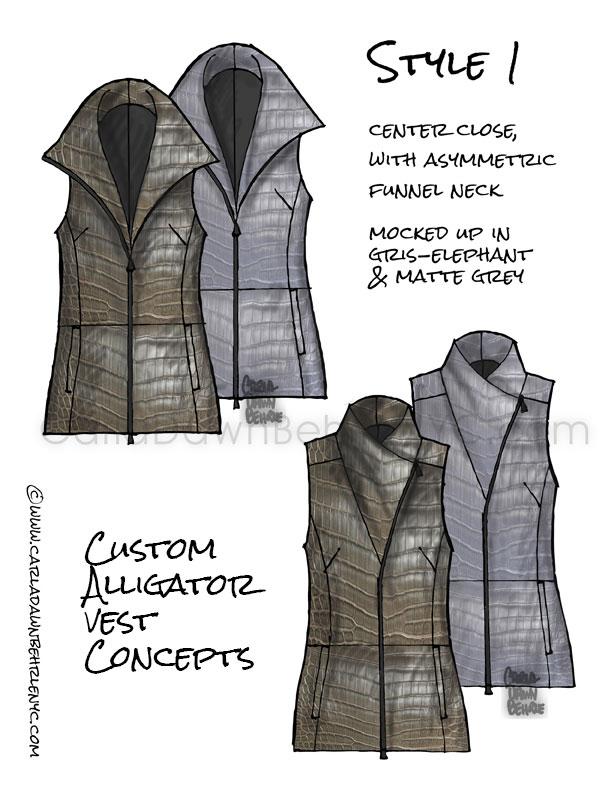 Custom Made alligator vest idea sketches