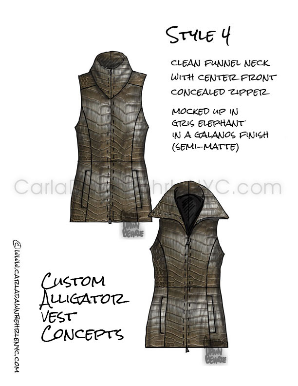 Custom Made alligator vest final sketches