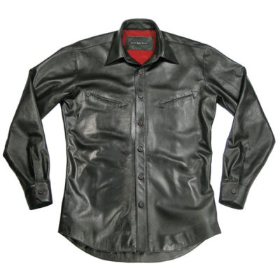 slim leather shirt