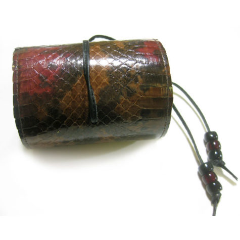 Snakeskin cuff bracelet in Brown and Coral