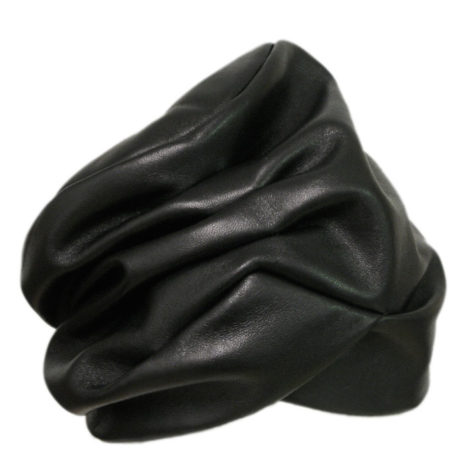 Natasha Black Leather Turban
