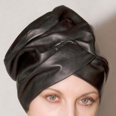 black leather turban