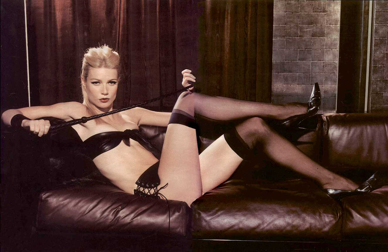 Gwyneth Paltrow in our leather side laced Shorts and bow top - Talk Magazine