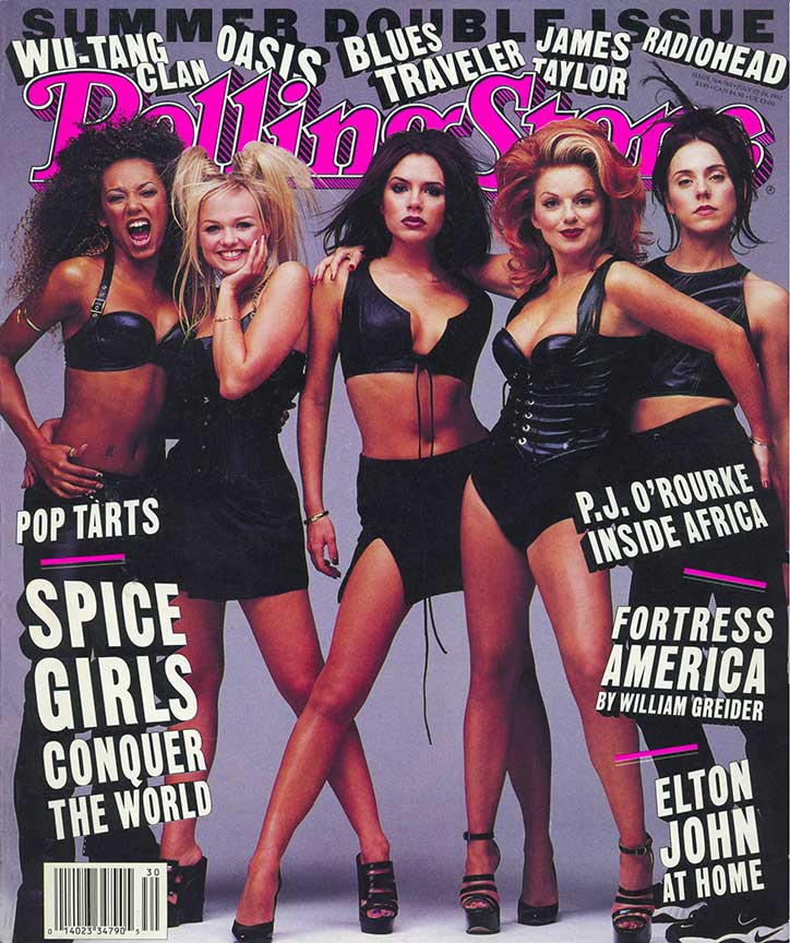 The Spice Girls in Leather on the cover of Rolling Stone