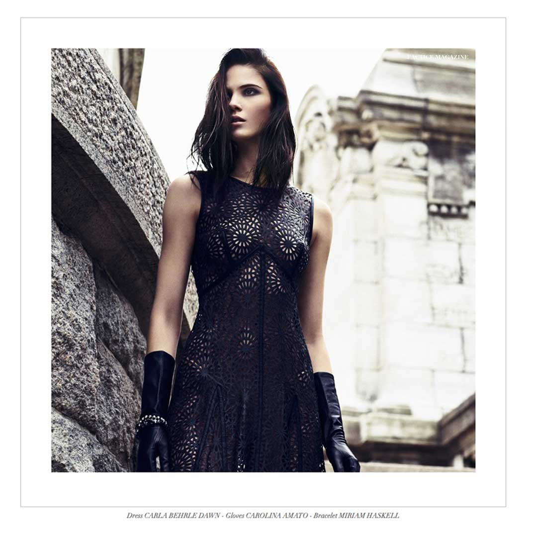 Our Lazser Cut leather Dress - featured in Factice Magazine