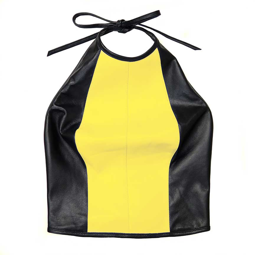 leather contour halter top two-tone