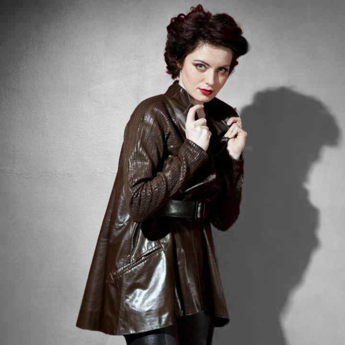 Amelia Flare Back Leather Coat with stretch Leather Sleeves by Carla Dawn Behrle