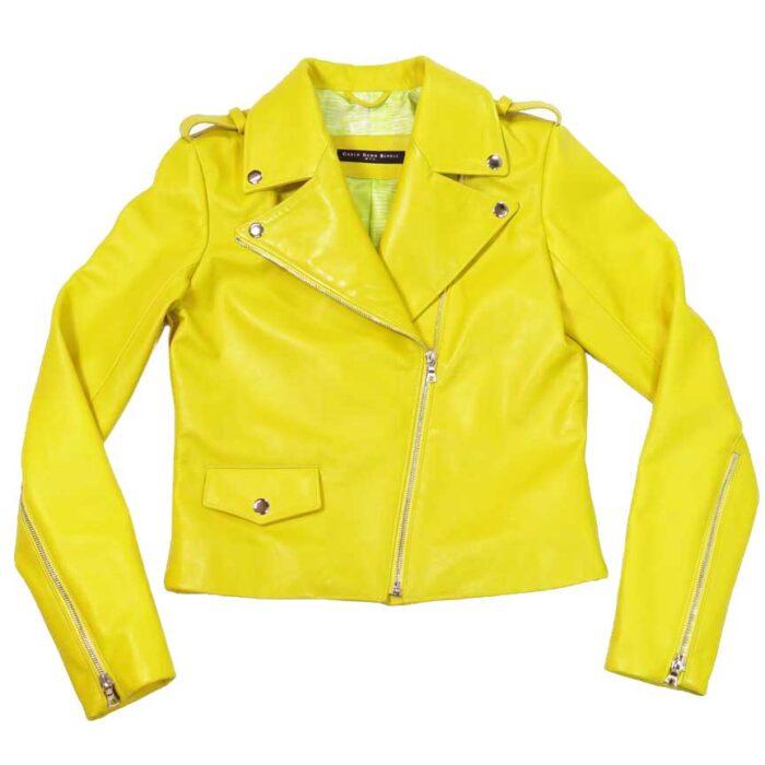 Sleek leather Moto jacket in Sunshine - as made for Amanda Seyfried - by Carla Dawn Behrle