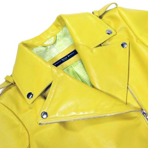 sleek leather moto jacket - detail