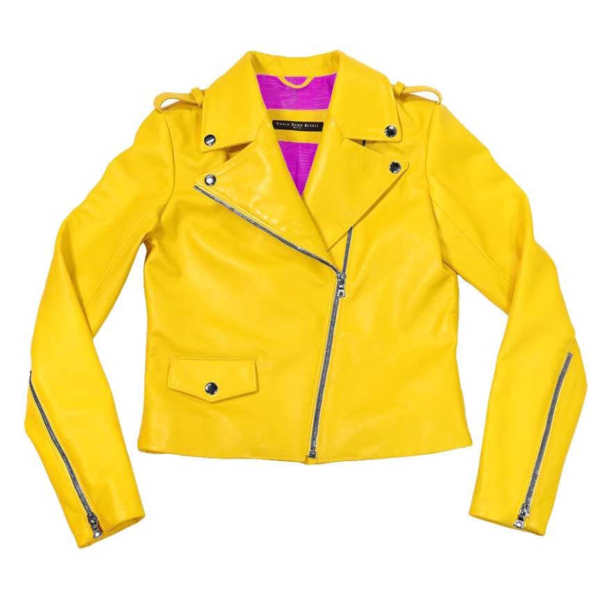 sleek leather moto jacket-yellow | fuchsia variation