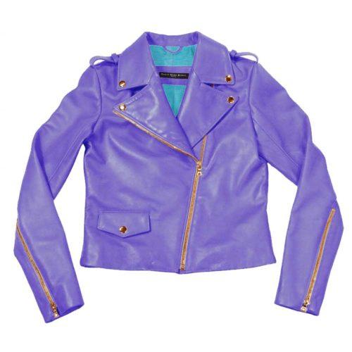 sleek leather moto jacket- lilac | turquoise variation