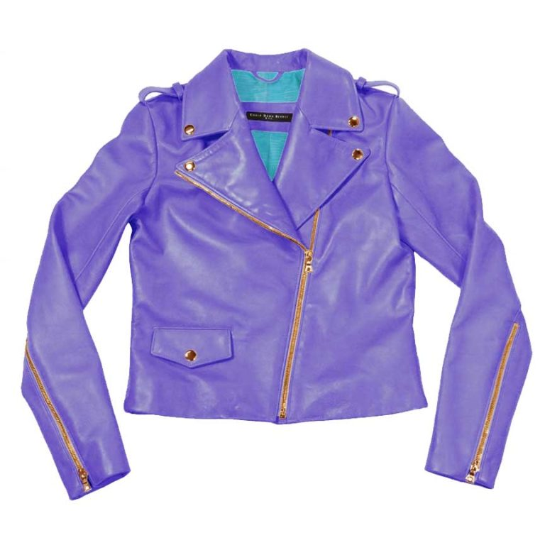sleek leather moto jacket- lilac | turquoise variation
