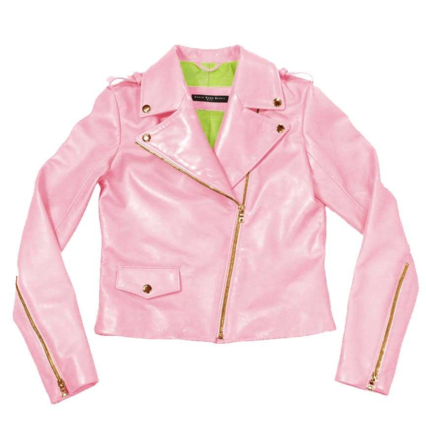 sleek leather moto jacket-pink |green variation