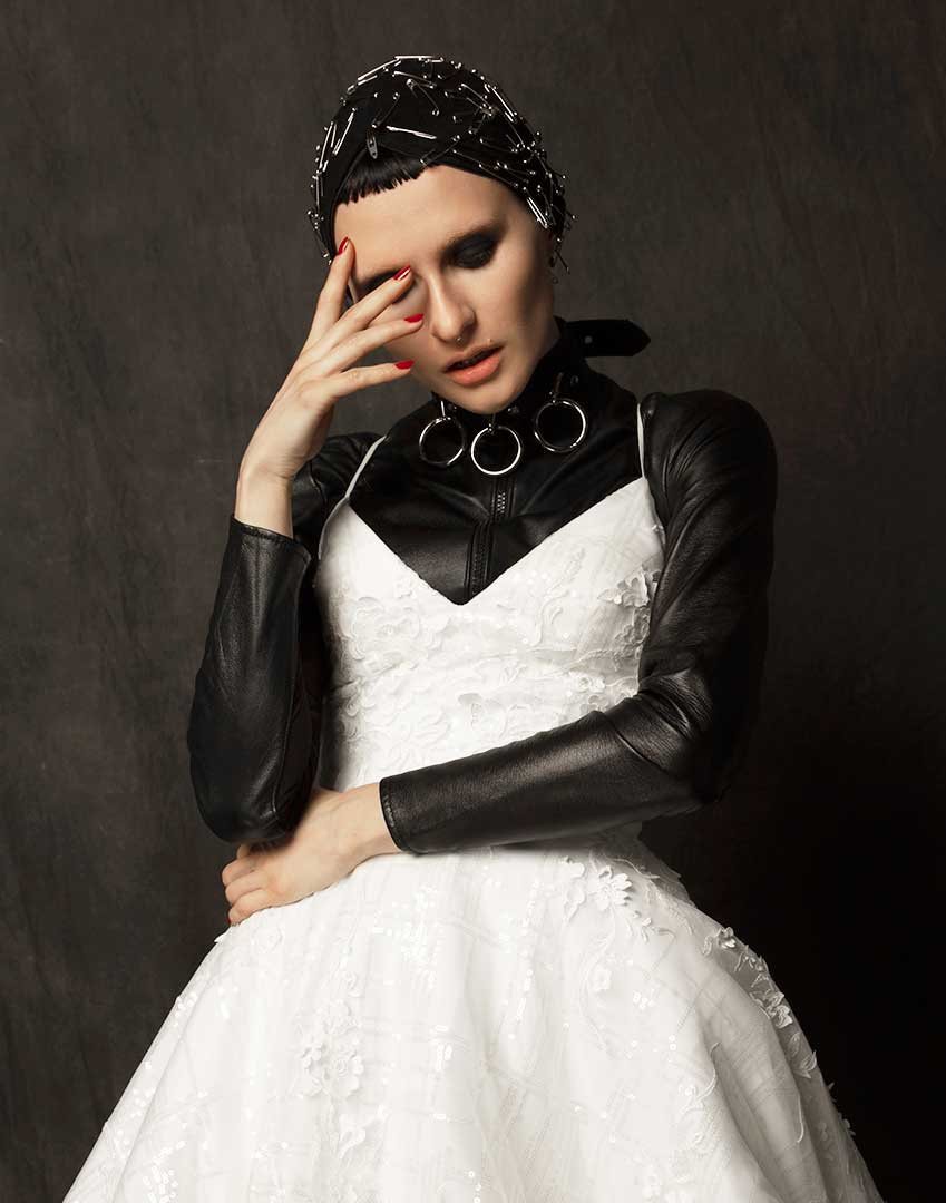 Alternative Punk Wedding Dress-Leather Body Suit