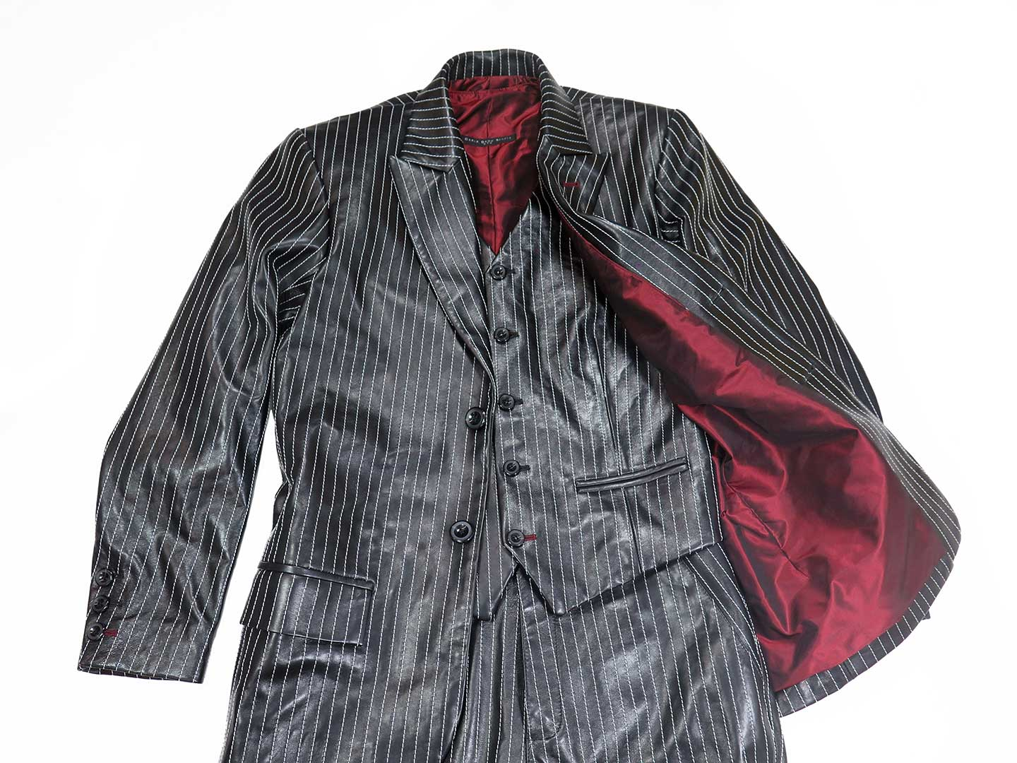 3 piece pinstriped leather suit