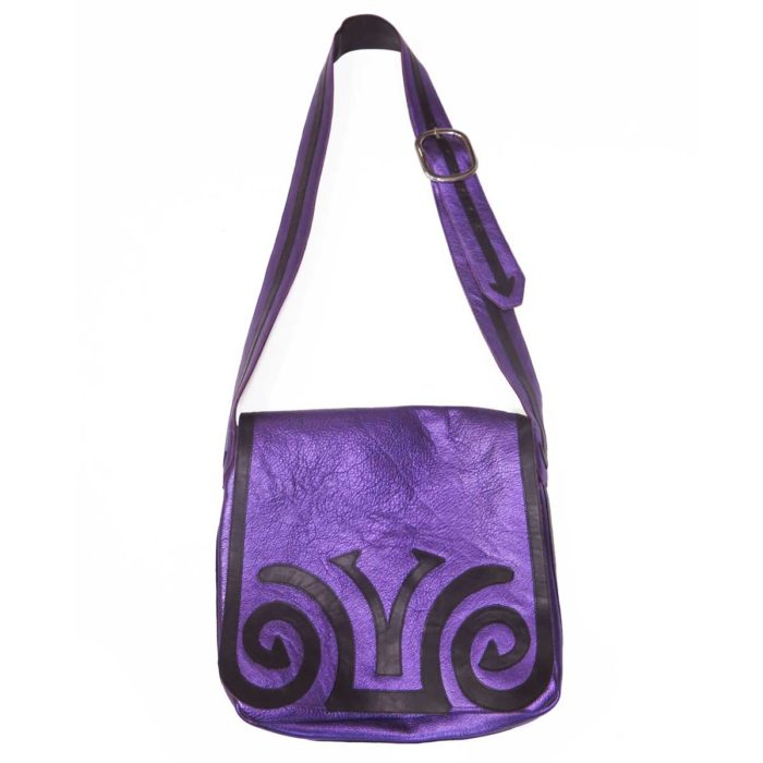 Purple Metallic Applique Messenger Bag
